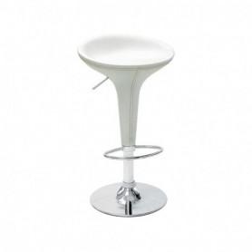 Sgabello Base in acciaio cromato e ABS rivestita in ecopelle - Colore Bianco