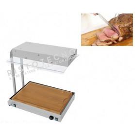 Piano Caldo inox con Tagliere in legno e Lampade Infrarossi . Cm. 72x55x72h. - Temp. 0°/90°C