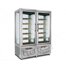 Espositore Vetrina refrigerata per pasticceria a 4 lati in vetro - Temp. -2°+4°C - 2 Celle Separate