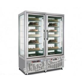 Espositore Vetrina refrigerata per pasticceria a 4 lati in vetro - Temp. -15/-24°C - 2 Celle Separate