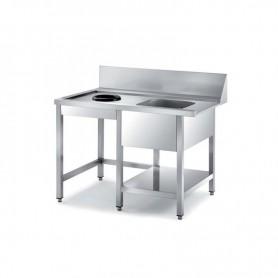 Tavolo entrata lavastoviglie a Capot, con Vasca a destra e foro per sbarazzo rifiuti. Dim.cm. 150x76,5x85H