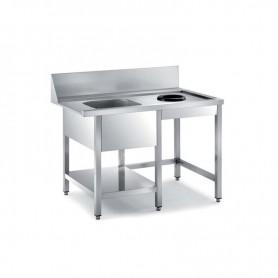 Tavolo entrata lavastoviglie a Capot, con Vasca a sinistra e foro per sbarazzo rifiuti. Dim.cm. 150x76,5x85H