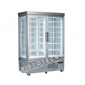 Espositore Vetrina refrigerata per pasticceria a 4 lati in vetro - Temp. -15°/-25°C  - Doppia Anta
