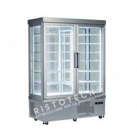 Espositore Vetrina refrigerata per pasticceria a 4 lati in vetro - Temp. +5°/-25°C  - Doppia Anta