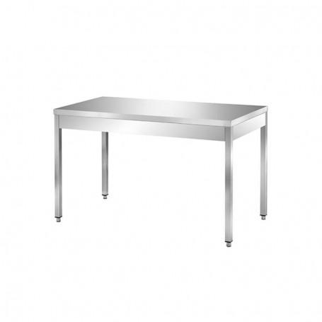 Tavolo inox senza ripian. Dim.cm. 70x70x85h *piccoli segni di danneggiamento*