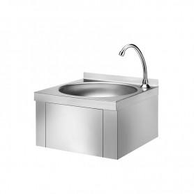 Lavamani acciaio inox a parete con comando a ginocchio cm. 40,5x40x45H. * registrazione acqua caldo/fredda *
