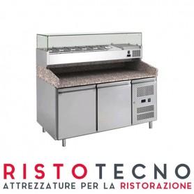 Banco Pizza refrigerato 2 sportelli. Piano in Granito e vetrina portacondimenti. 151x80x143H. - Vetrina GN 1/3