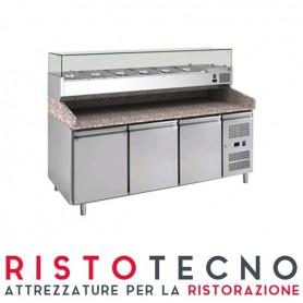 Banco Pizza refrigerato 3 sportelli. Piano in Granito e vetrina portacondimenti. 202,5x80x143H. – Vetrina GN 1/4