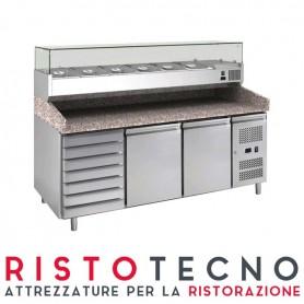 Banco Pizza refrigerato 2 sportelli + cassettiera. Piano in Granito e vetrina portacondimenti. 202,5x80x143H. – Vetrina GN 1/3