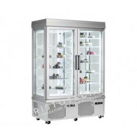 Espositore Vetrina refrigerata per pasticceria a 4 lati in vetro - Temp. +5°/-25°C • -15°/-25°C - Doppia Anta