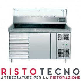 Banco Pizza refrigerato 1 sportello + cassettiera. Piano in Granito e vetrina portacondimenti. 151x80x143H.