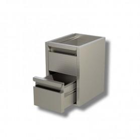 Cassettiera Inox a 2 cassetti per prof. 60 - Dim.cm. 40x58x54H.