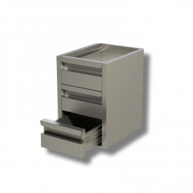Cassettiera Inox a 3 cassetti per prof. 60 - Dim.cm. 40x58x54H.