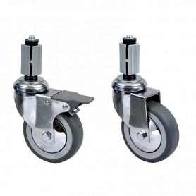 n. 4 ruote in gomma di cui 2 con freno per tavoli gambe