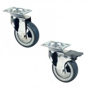 n. 4 ruote in gomma di cui 2 con freno per tavoli armadiati