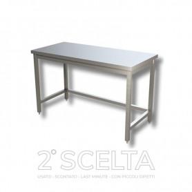 Tavolo inox senza ripiano di fondo, senza alzatina posteriore. Dim.cm. 200x70x85h *segni di danneggiamento*