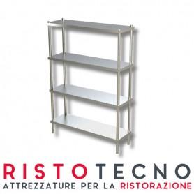 Scaffalatura inox ad incastro - n.4 Ripiani. Dim.cm. 120x40x200h *come nuovo*