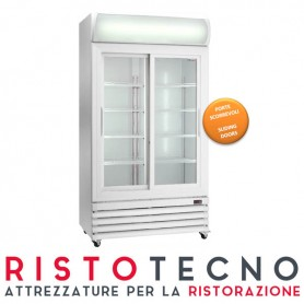 Frigo Vetrina Bibite con scorrevoli, capacità 670 Lt - Dim.cm. 112x69x197,3H. * PICCOLISSIMA AMMACCATURA IN ALTO *
