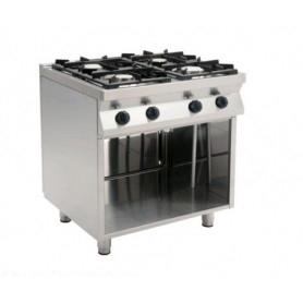 Cucina a GAS 4 fuochi a fiamma libera. Dim.cm. 80x70x85H. - Potenza termica 19 Kw.