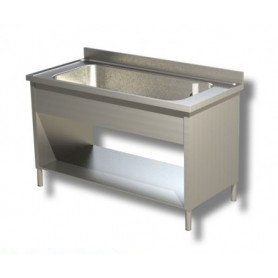 Lavapentole ad 1 vascone con fianchi laterali. Altezza vasca cm. 35. • Prof. 60