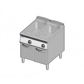 Cuocipasta a GAS a 2 vasche d lt. 40+40. Dim.cm. 80x90x85H. - Potenza termica 30 Kw.