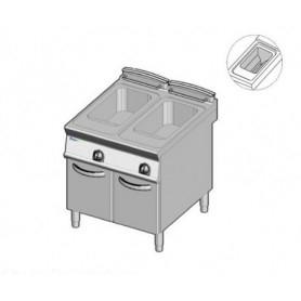 Friggitrice a GAS a 2 vasche da lt.21+21. Dim.cm.80x90x85H. - Potenza termica 38 Kw. • Vasca Pulita