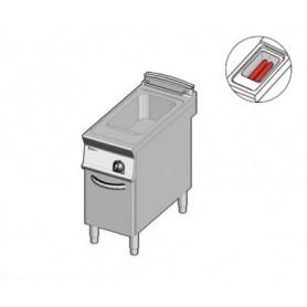 Friggitrice a GAS ad 1 vasca da lt. 13. Dim.cm.40x90x85H. - Potenza termica 11.5 Kw. • Scambiatori calore in vasca