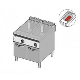 Friggitrice a GAS a 2 vasche da lt. 13+13. Dim.cm.80x90x85H. - Potenza termica 23 Kw. • Scambiatori calore in vasca