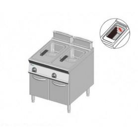 Friggitrice ELETTRICA a 2 vasche da lt. 13+13. Dim.cm.80x90x85H. - Potenza elettrica 24 Kw. • Resistenze Rotanti