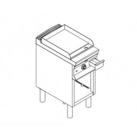 Fry Top ELETTRICO con piano di cottura LISCIO . Dim.cm. 40x90x85H. - Assorbimento 7.5 Kw