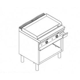 Fry Top ELETTRICO con piano di cottura LISCIO . Dim.cm. 80x90x85H. - Assorbimento 15 Kw.