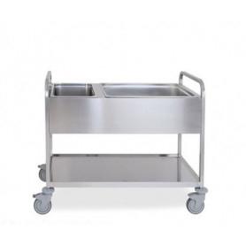 Carrello inox per sbarazzo rifiuti (bacinelle comprese) - cm. 117x63x94H.