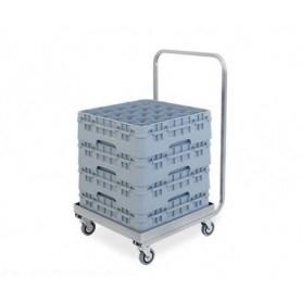 Carrello Porta Cestello inox - Con manico inox • per cestelli 50x50