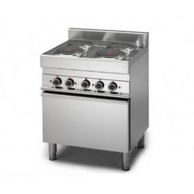 Cucina elettrica 4 piastre con forno elettrico. Dim.cm. 70x70x85H. - Potenza Assorbita 14.36 Kw.