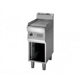 Fry Top a gas con piano LISCIO cromato. Dim.cm. 40x70x85H. - Potenza termica 5.70Kw.