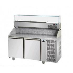 Banco Pizza refrigerato 2 sportelli. Piano in Granito e vetrina portacondimenti. 161x80x149H. – Vetrina GN 1/3