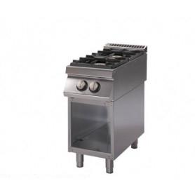 Cucina a GAS 2 fuochi a fiamma libera. Dim.cm. 40x90x85H. - Potenza termica 13 Kw.