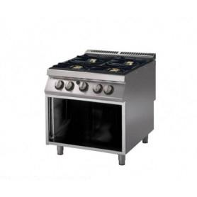Cucina a GAS 4 fuochi a fiamma libera. Dim.cm. 80x90x85H. - Potenza termica 26 Kw.