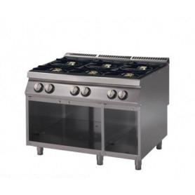 Cucina a GAS 6 fuochi a fiamma libera. Dim.cm. 120x90x85H. - Potenza termica 37 Kw.