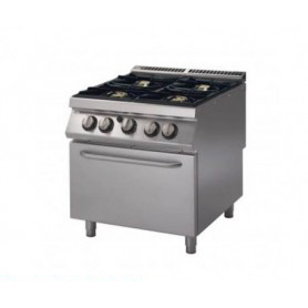 Cucina a GAS 4 fuochi a fiamma libera + forno a gas. Dim.cm. 80x90x85H. - Potenza termica 34 Kw.