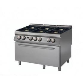 Cucina a GAS 6 fuochi a fiamma libera + forno MAXI a gas. Dim.cm. 120x90x85H. - Potenza termica 49 Kw.