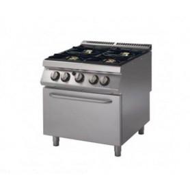 Cucina a GAS 4 fuochi a fiamma libera + forno elettrico statico. Dim.cm. 80x90x85H. - Potenza termica 26 Kw.