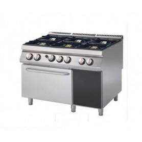 Cucina a GAS 6 fuochi a fiamma libera + forno elettrico a convezione. Dim.cm. 120x90x85H. - Potenza termica 37 Kw.