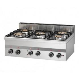 Cucina da banco 5 fuochi. Dim.cm. 60x90x28H. - Potenza termica 15