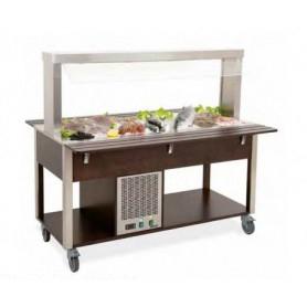 Carrello buffet refrigerato con Parafiato fisso - lampade a LED • Capacità 6 GN 1/1