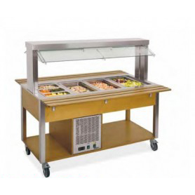 Carrello buffet refrigerato con Parafiato mobile - lampade a LED • Capacità 3 GN 1/1