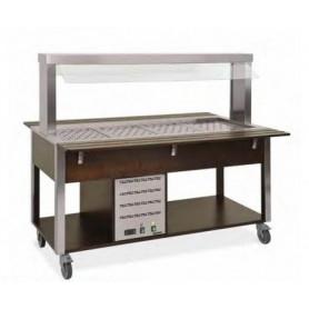 Carrello buffet caldo secco + bagnomaria con Parafiato fisso - lampade a LED • Capacità 2 GN 1/1