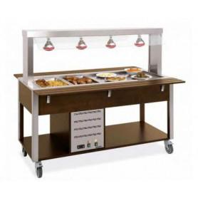 Carrello buffet caldo secco + bagnomaria con Parafiato fisso - n. 4 lampade infrarossi • Capacità 4 GN 1/1