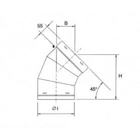 Curva a 45° per tubazione cappa • in ACCIAIO INOX AISI 304