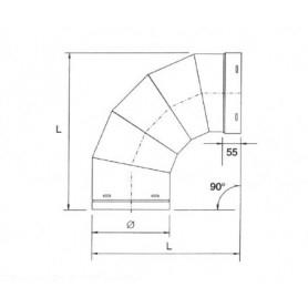 Curva a 90° per tubazione cappa • in ACCIAIO INOX AISI 304